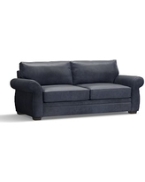 """Pearce Leather Grand Sofa 90"""", Down Blend Wrapped Cushions, Statesville Indigo Blue"""