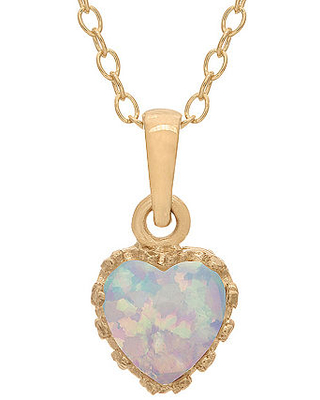 Simulated Opal 14K Gold Over Silver Pendant Necklace, One Size , White