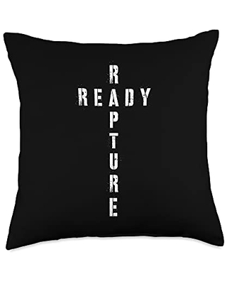Christian Evangelical Rapture Shirts & GIfts Christian Cross Rapture Ready Throw Pillow, 18x18, Multicolor