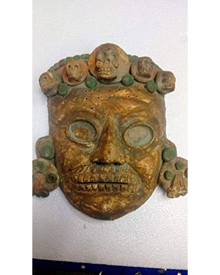 """Archaeological mask, large, decorative clay,""""god of the Aztec dead"""" modeled by hand"""