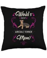 Rasocity World's Best Airedale Terrier Mom Dog Breed Owner Throw Pillow, 18x18, Multicolor