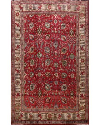 "One-of-a-Kind Hand-Knotted 1970s Tabriz Red 9'7"" x 12'7"" Wool Area Rug Rugsource"