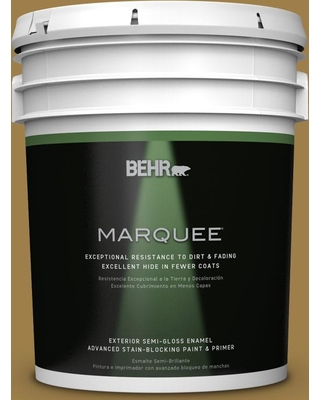 BEHR MARQUEE 5 gal. #S310-6 Gold Ink Semi-Gloss Enamel Exterior Paint and Primer in One