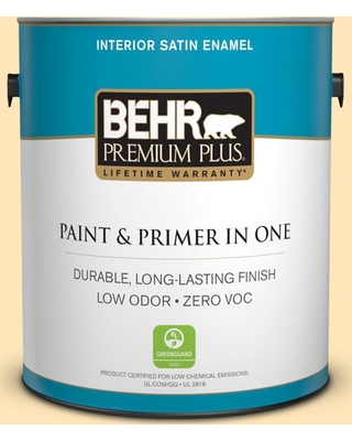 BEHR Premium Plus 1 gal. #300A-2 Whisper Yellow Satin Enamel Low Odor Interior Paint and Primer in One