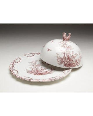 Rosalind Wheeler Crawford Covered Serving Platter W000849256 Color: Red/White