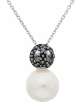 """""""Freshwater Cultured Pearl, and Black and White Diamond Accent Sterling Silver Ball Pendant Necklace, Women's, Size: 18"""""""""""