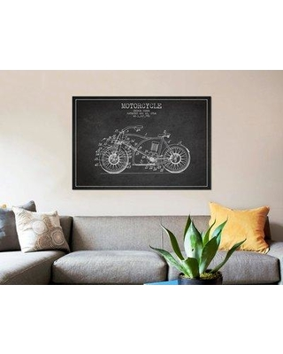 "East Urban Home Charcoal 'George Pamer Motorcycle Patent Sketch' Graphic Art Print on Canvas in Gray ERBR0122 Size: 26"" H x 40"" W x 0.75"" D"
