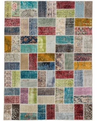 """One-of-a-Kind Athens Hand-Knotted 2010s Patchwork Orange/Ivory/Pink 4'10"""" x 6'7"""" Wool Area Rug"""