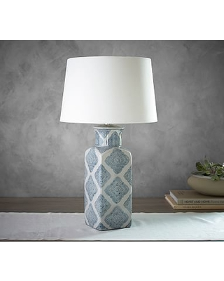 Jamie young langley ceramic urn lamp navy