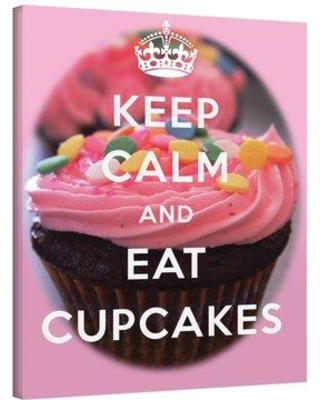 "ArtWall Keep Calm And Eat Cupcakes by Art D Signer Kcco Textual Art on Wrapped Canvas 0kcc016a Size: 32"" H x 24"" W"