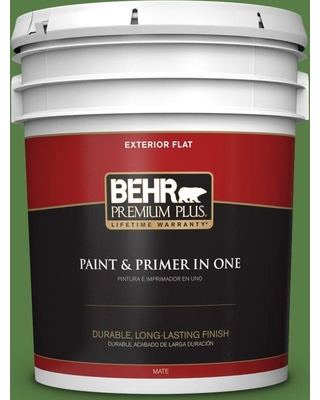 BEHR Premium Plus 5 gal. #440D-6 Grassy Field Flat Exterior Paint and Primer in One