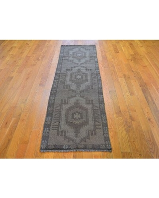 "One-of-a-Kind Hand-Knotted Brown 2'1"" x 8'2"" Runner Wool Area Rug Oriental Rug Galaxy"