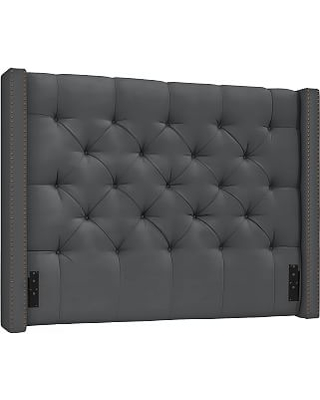 Harper Upholstered Tufted Low Headboard with Bronze Nailheads, Queen, Premium Performance Basketweave Charcoal