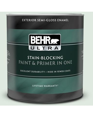 BEHR ULTRA 1 qt. #440E-1 Relaxing Green Semi-Gloss Enamel Exterior Paint and Primer in One