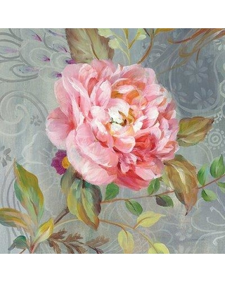 """East Urban Home 'Peonies And Paisley II' Graphic Art Print on Wrapped Canvas ERNI2753 Size: 26"""" H x 26"""" W x 1.5"""" D"""