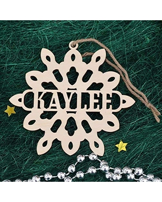 Personalized Snowflake Ornament - Personalized Christmas Decoration Handmade - Engraved Wooden Snowflake - Custom Christmas Ornament