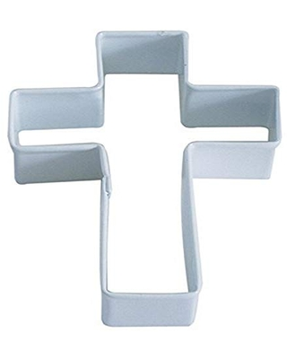 """R&M Cross 4"""" Cookie Cutter White With Brightly Colored, Durable, Baked-on Polyresin Finish"""