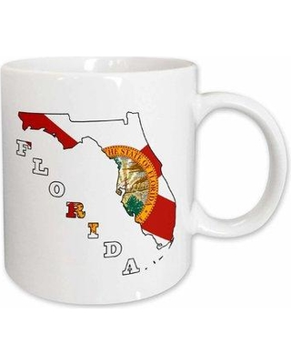 East Urban Home Florida State Flag in the Outline Map and Letters of Florida Coffee Mug W000536816