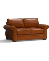 """Pearce Leather Loveseat 73"""", Down Blend Wrapped Cushions, Leather Legacy Dark Caramel"""