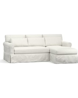 York Roll Arm Slipcovered Deep Seat Left Arm Sofa with Chaise Sectional, Down Blend Wrapped Cushions, Basketweave Slub Ivory