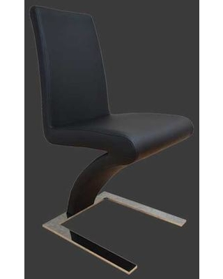 """C-379 BLACK 37"""" Dining Chair with Leatherette Upholstery Z-Shape Design Chrome Metal Base Padded Seat and Back in"""