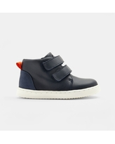 Baby boy smooth leather high-top tennis shoes - NAVY BLUE - Jacadi