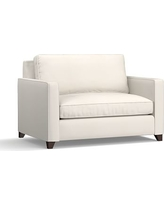 Cameron Upholstered Square Arm Twin Armchair Sleeper, Polyester Wrapped Cushions, Denim Warm White