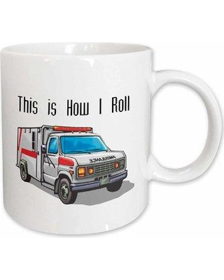 """East Urban Home This How I Roll Ambulance Emt Design Coffee Mug W000759993 Color: White Size: 4.65"""" H x 4.9"""" W x 3.33"""" D"""