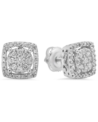 Dazzling Rock Dazzlingrock Collection 0.50 Carat (Ctw) 10K Real Round Cut White Diamond Ladies Cluster Stud Earrings 1/2 CT, White Gold