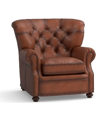 Lansing Leather Armchair, Polyester Wrapped Cushions, Burnished Saddle