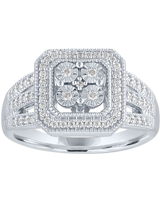 Womens 1/4 CT. T.W. Genuine Diamond Sterling Silver Cocktail Ring, 7 , No Color Family