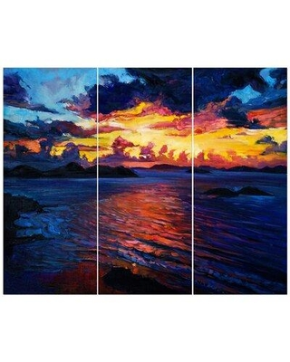 East Urban Home 'Rich Golden Sunset over Ocean' Oil Painting Print Multi-Piece Image on Wrapped Canvas FCIV6528