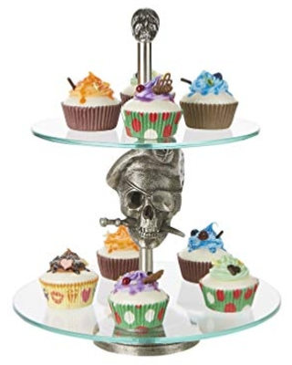 Mind Reader 2 Pirate, Party Pastry, Cupcake Holder, Tree Tower Stand, Tiered Serving Dessert Display Tray, Silver, One Size