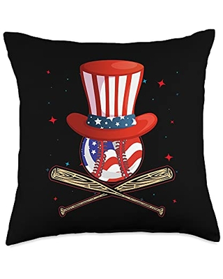 Zone - 365 4th Of July Baseball Fan Baseball 4th Of July American Flag Lover Throw Pillow, 18x18, Multicolor