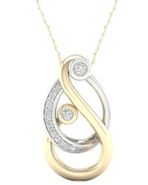 Imperial 1/6Ct TDW Diamond Yellow Gold Plated Silver Mom and Child Necklace (H-I, I2)