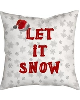 "SafiyaJamila Holiday Treasures Throw Pillow LetItSnow_ Size: 18"" H x 18"" W"