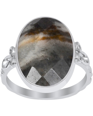 Jasper Sterling Silver Oval Promise Ring By Orchid Jewelry (7 - Jasper)