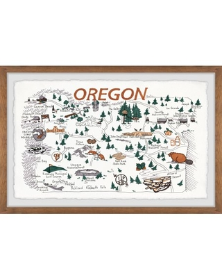 Marmont Hill Illustrated Map of Oregon State Framed Wall Art