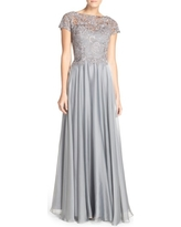 Women's La Femme Lace & Satin A-Line Gown, Size 6 - Grey