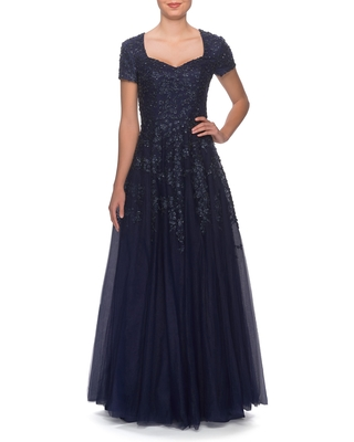 Women's La Femme Embellished Tulle A-Line Gown, Size 10 - Blue
