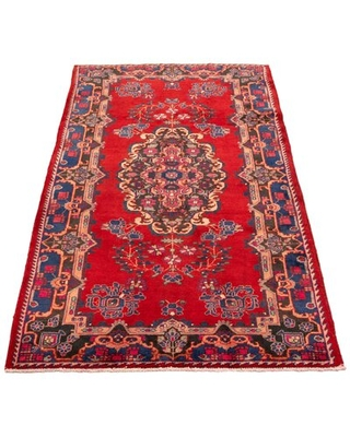 """One-of-a-Kind Hand-Knotted 1970s Kula Red/Navy 4'10"""" x 9'11"""" Runner Wool Area Rug ECARPETGALLERY"""