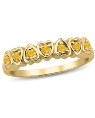 10K Yellow Gold Genuine Birthstone Ring (November - Yellow - H - Citrine - 5 - Yellow)