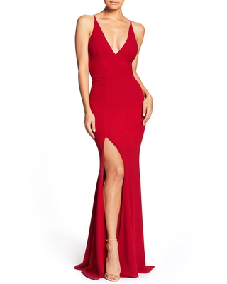Women's Dress The Population Iris Crepe Trumpet Gown, Size X-Large - Red