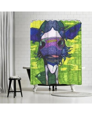 East Urban Home Solveig Studio Cow in Face Single Shower Curtain ETHH3357