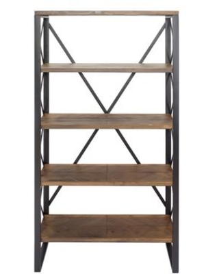 """328710 32.75"""" Natural and Orange Metal Wood and MDF Bookcase with 5"""