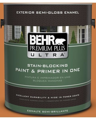 BEHR ULTRA 1 gal. #M230-7 Rumba Orange Semi-Gloss Enamel Exterior Paint and Primer in One