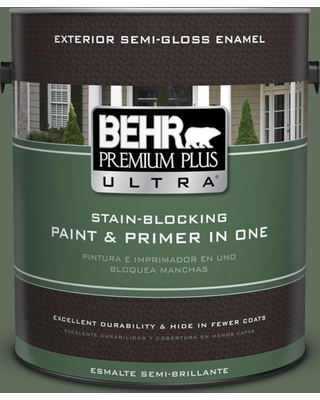 BEHR Premium Plus Ultra 1 gal. #N400-6 Terrarium Semi-Gloss Enamel Exterior Paint and Primer in One