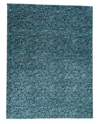 """One-of-a-Kind Philips Hand-Knotted 2010s Modern Teal 9'4"""" x 12'3"""" Silk Area Rug World Menagerie"""