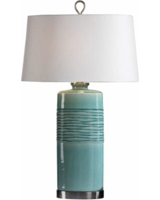 Uttermost Rila Distressed Teal Ceramic Table Lamp