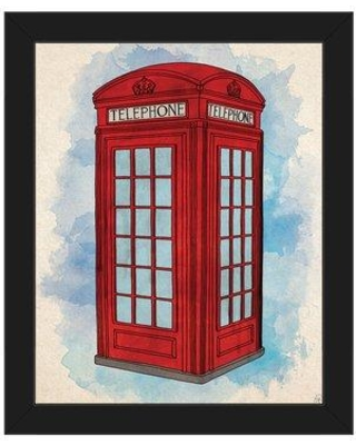 """Click Wall Art 'Telephone Booth' Framed Painting Print on Canvas in Red/Blue COM0000241FRA08x10SBK Size: 18.5"""" H x 22.5"""" W Format: Black Framed"""
